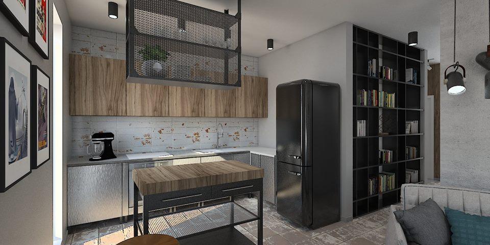 Mieszkanie-urzadzone-w-stylu-loft-otwarty-salon-na-kuchnie-w-kolorze-szarosci Urządzanie loftu: jakimi zasadami się kierować?